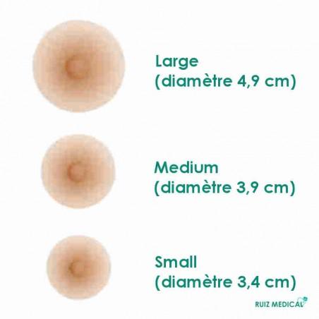 Trois tailles de mamelons adhérents d'Amoena - Coloris Ivoire