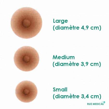 Trois tailles de mamelons adhérents d'Amoena - Coloris Bronze