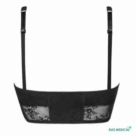 Bandeau Amber Top par Amoena - Coloris Noir - De Dos - Seul - Avec bretelles