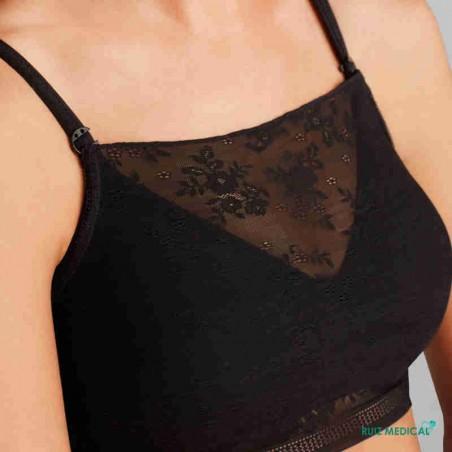 Bandeau Amber Top par Amoena - Coloris Noir - De Face - Zoom