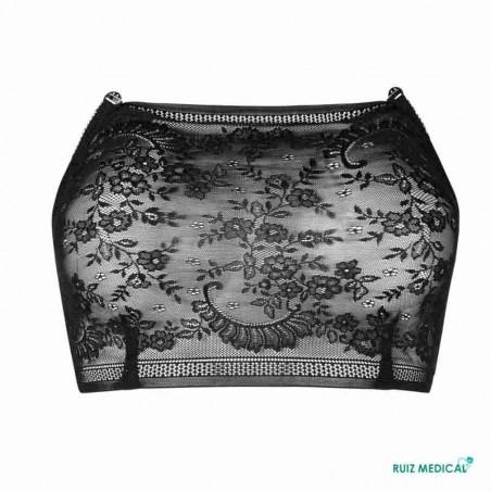 Bandeau Amber Top par Amoena - Coloris Noir - De Face - Seul - Sans bretelles