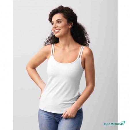 Top Valletta Amoena pour prothèse mammaire - Coloris Blanc - Modèle de face