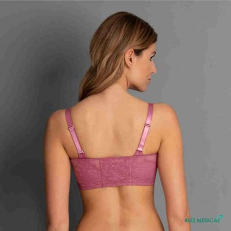 Bandeau à dentelle pour Soutien-gorge pour prothèse mammaire Fleur par Anita Care - Coloris Rose Violet - Vue de dos