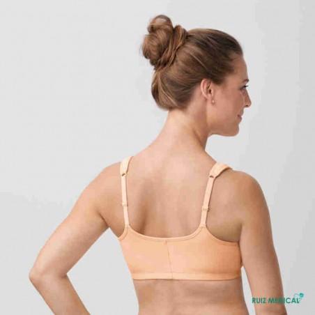 Soutien-gorge pour prothèse mammaire Fleur sans armatures par Amoena - Coloris Peau - Vue de dos