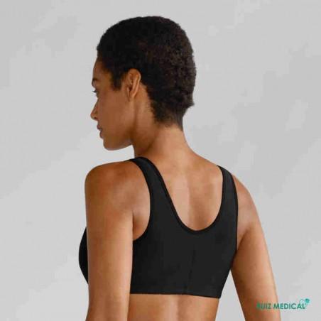Soutien-gorge pour prothèse mammaire Frances sans armatures par Amoena - Coloris Noir - Vue de dos