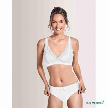 Soutien-gorge pour prothèse mammaire Amanda SB Bustier par Amoena - Coloris Blanc - Debout Face