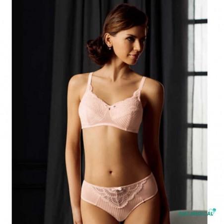 Soutien-gorge pour prothèse mammaire Karolina sans armatures par Amoena - Coloris Rose - Face