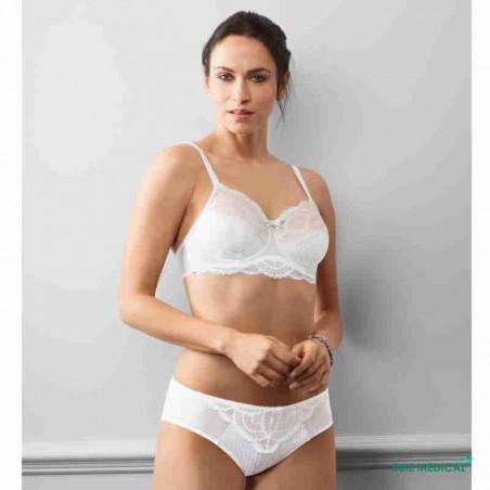 Soutien-gorge pour prothèse mammaire Karolina avec armatures par Amoena - Coloris Blanc/Nude - Complet
