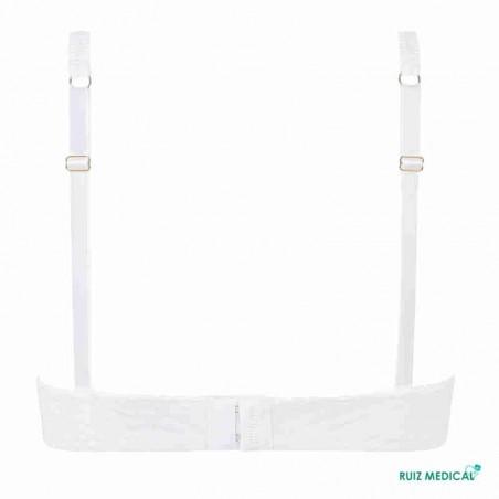 Soutien-gorge pour prothèse mammaire Karolina avec armatures par Amoena - Coloris Blanc/Nude - Dos Seul