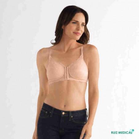 Soutien-gorge pour prothèse mammaire Ellen sans armatures par Amoena - Coloris Rose Nude - Face
