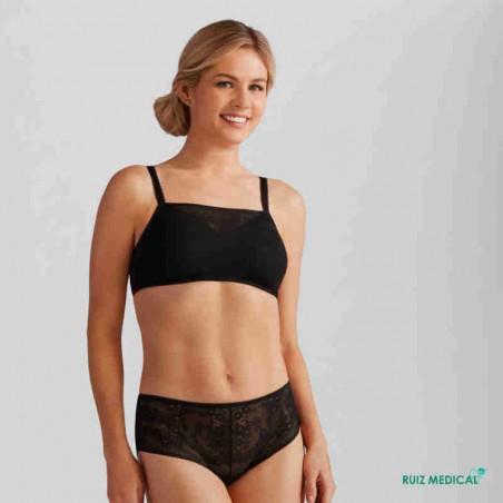 Soutien-gorge pour prothèse mammaire Amber sans armatures paddé par Amoena - Coloris Noir - Debout