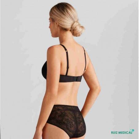 Soutien-gorge pour prothèse mammaire Amber sans armatures paddé par Amoena - Coloris Noir - Debout de dos