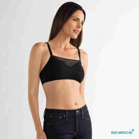 Soutien-gorge pour prothèse mammaire Amber sans armatures paddé par Amoena - Coloris Noir - Vue face complète