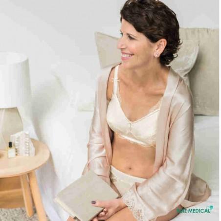 Soutien-gorge pour prothèse mammaire Aurelie sans armatures par Amoena- Coloris Ivoire - Assis