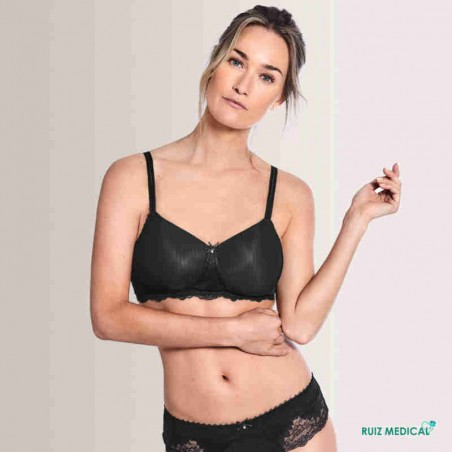 Soutien-gorge pour prothèse mammaire Aurelie sans armatures paddé par Amoena - Coloris Noir