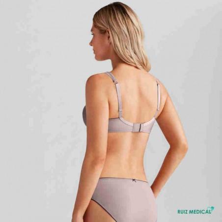 Soutien-gorge pour prothèse mammaire Romy avec armatures par Amoena - Coloris Mauve/Noir - Dos