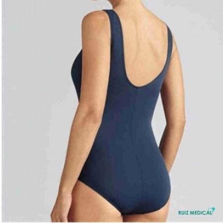 Maillot de bain pour prothèse mammaire Rhodes par Amoena - Vue de dos - Coloris Bleu Nuit