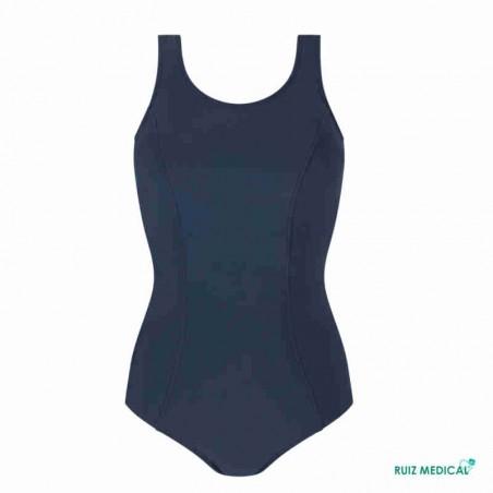 Maillot de bain pour prothèse mammaire Rhodes par Amoena - Vue de face - Coloris Bleu Nuit - Seul