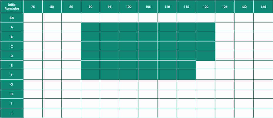 Tailles disponibles pour les soutien-gorges Safina 5749X sans armatures