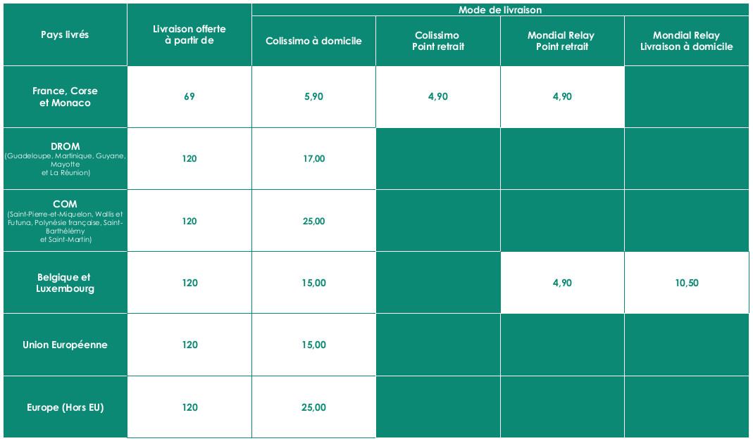 Tableau récapitulatif des transporteurs de Ruizmedical.com